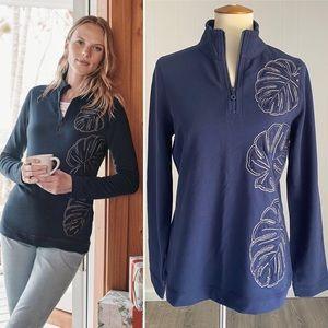 NWT Tommy Bahama Monstera Half-zip Sweatshirt Blue